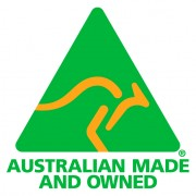 Australian Made & Owned spot colour logo
